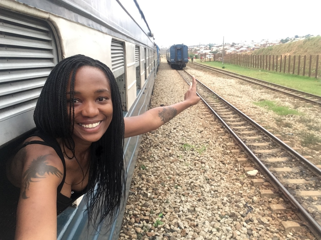 Nelly's selfie from the window of TAZARA sleeping berth