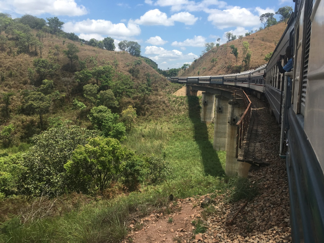 TAZARA train crossing a bridge
