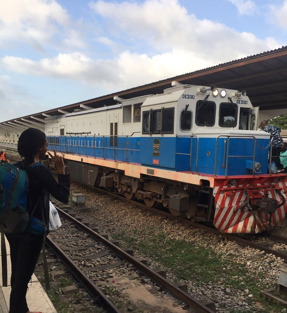 Nelly's photo infront of the TAZARA train