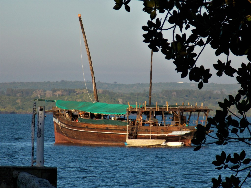 Traditional Swahili Dhow docked at sea