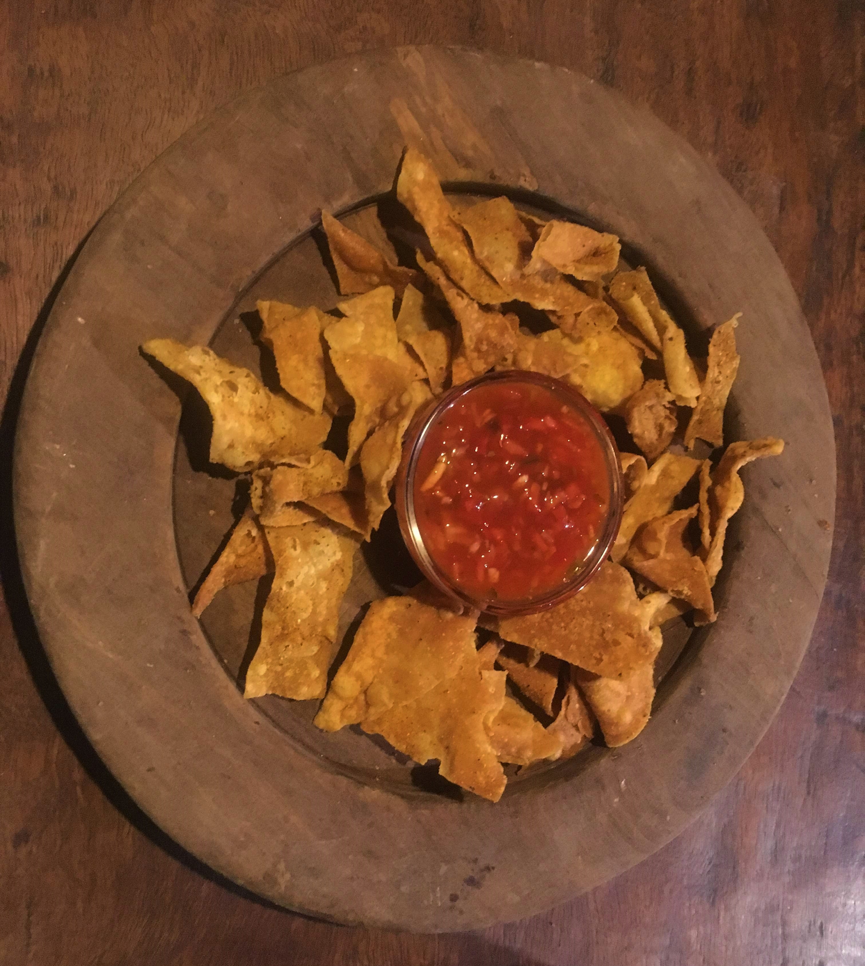 Nachos and homemade tomato sauce
