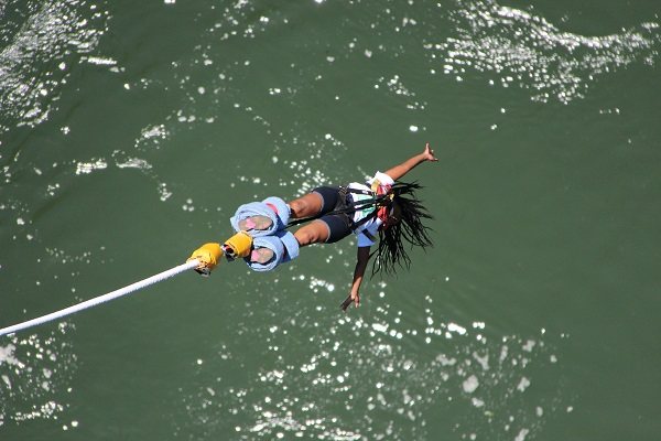 Author on a bungee jump off Victoria Falls in Zambia.
