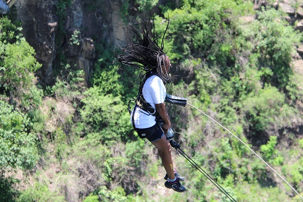 Author after leaping off the platform for a gorge swing in Victoria Falls bridge