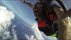 Nelly tandem skydiving at Skydive Diani in South Coast, Diani, Kenya