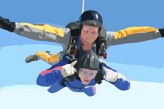 An abstract image of two people tandem skydiving
