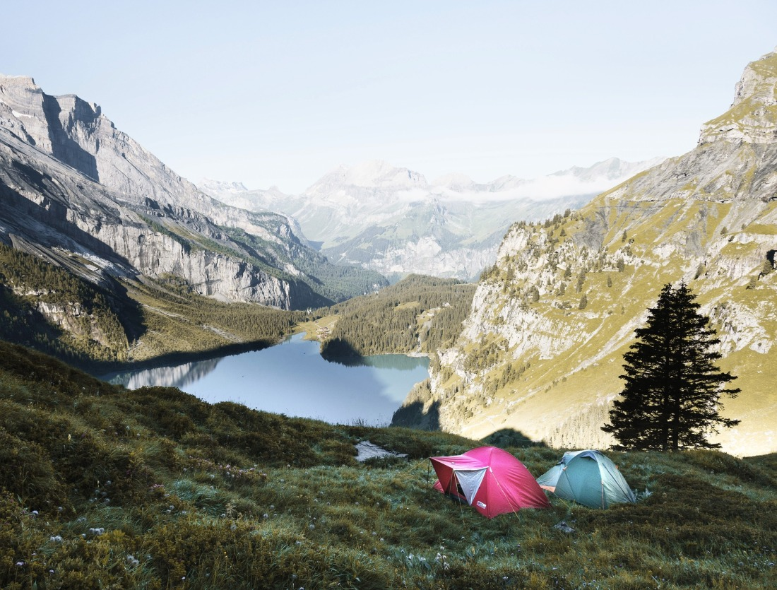 Two Tents Set Up in the Mountains