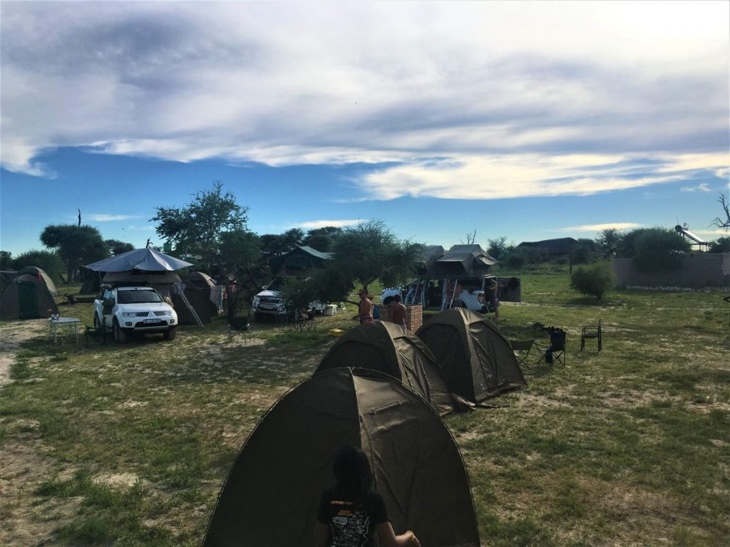 Tents set up in the Elephant Sands campsite in Nata, Botswana.