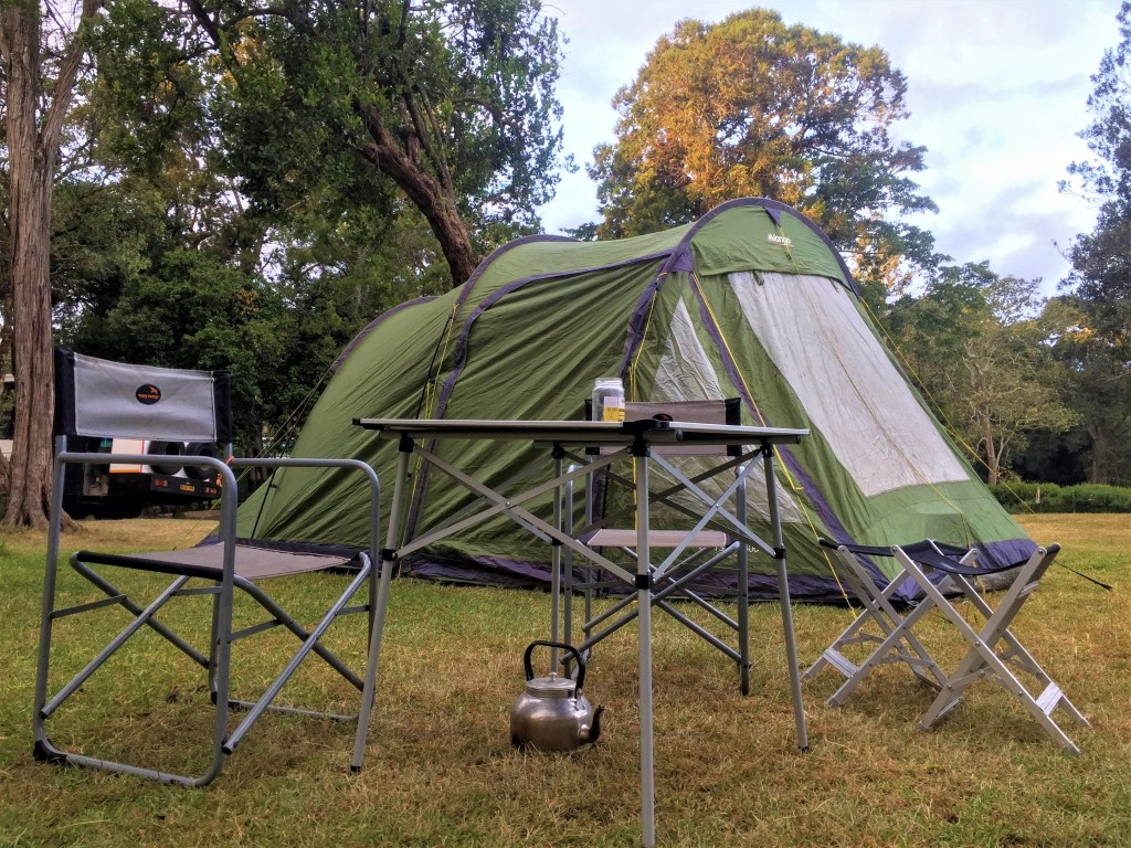 A tent-ready set up for camping in Nanyuki, Kenya.