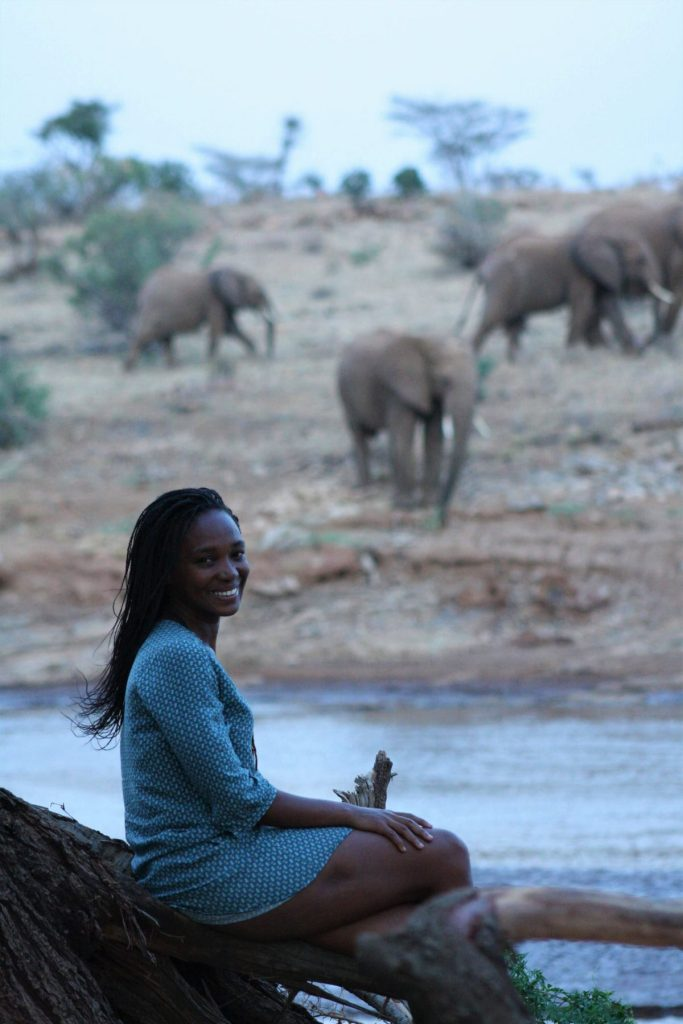 Nelly sitting on a tree by the Ewaso Nyiro River in Samburu Public Campsite with a background of elephants at the other end of the river.