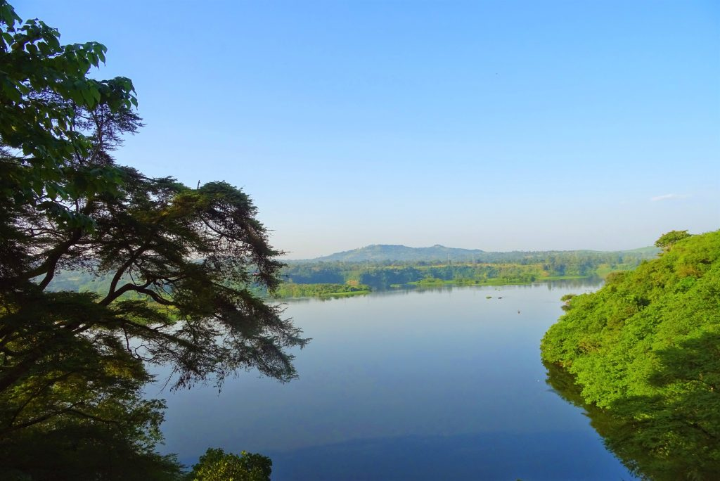 A stunning blue water view of the River Nile from the restaurant at Explorers River Camp in Jinja, Uganda.